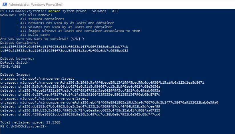 Uninstall Docker on Windows Server 2016 and Windows 10