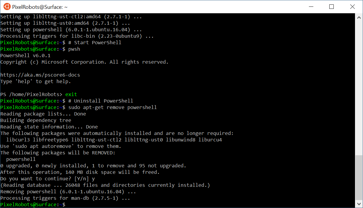 Install PowerShell Core on Windows Subsystem for Linux