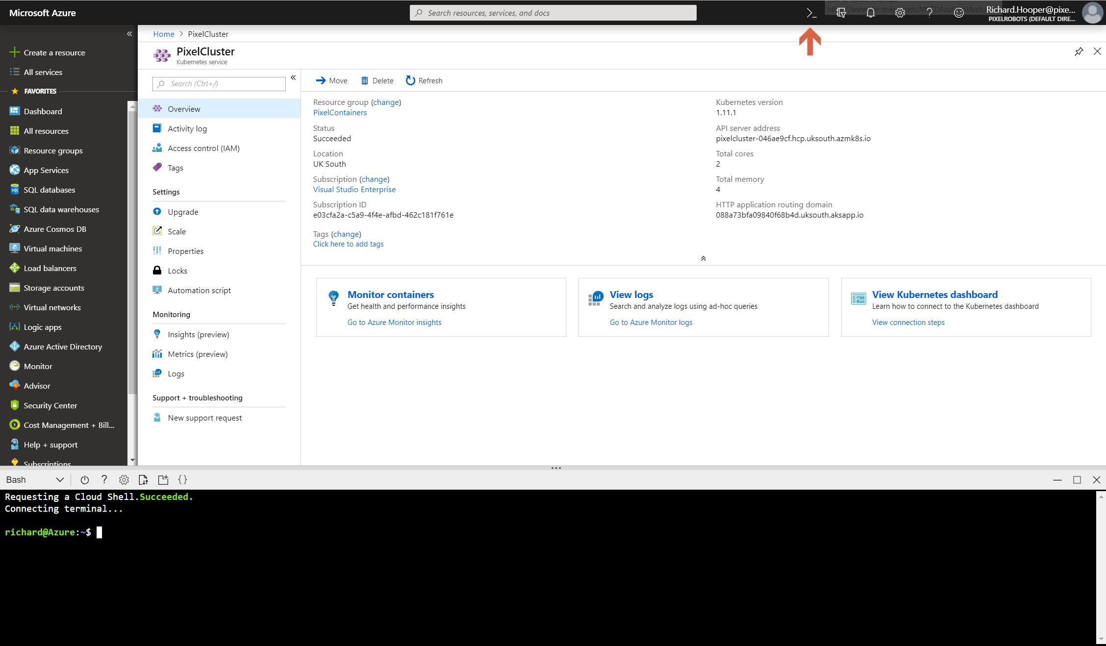 Creating an Azure Kubernetes Service (AKS) cluster: Part 1 - Pixel