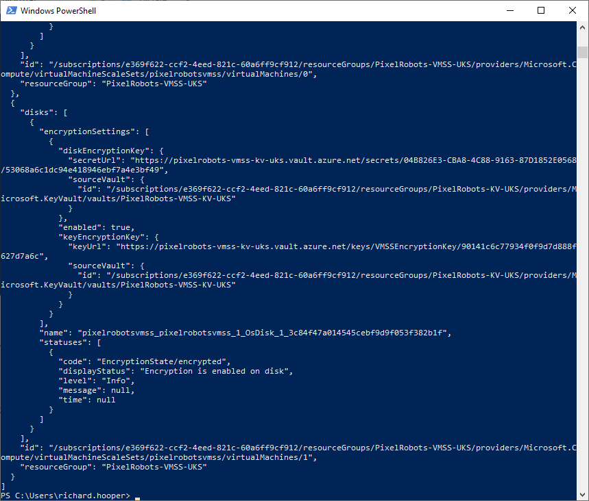 How to encrypt an Azure virtual machine scale sets (VMSS) running