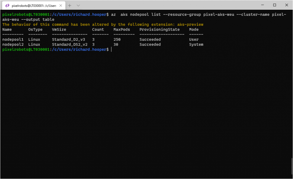 az  aks nodepool list --resource-group pixel-aks-weu --cluster-name pixel-aks-weu --output table