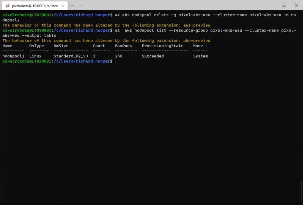 az aks nodepool delete -g pixel-aks-weu --cluster-name pixel-aks-weu -n nodepool2